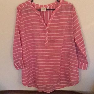 Be comfy in this great coral and white striped top